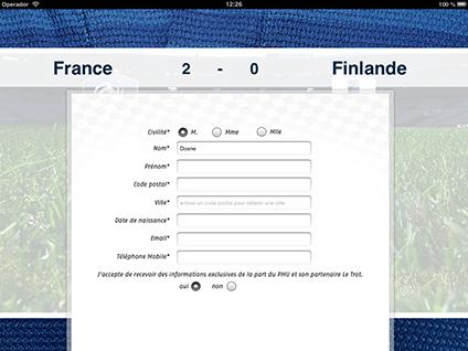 application ipad collecte d'adresses email et téléphone opt'in